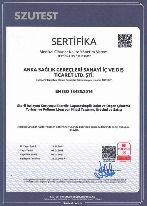 ISO 13485 Kalite Belgesi